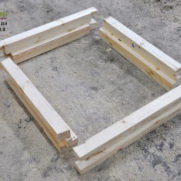 Обсадная коробка из массива сосны, углы зарезаны на производстве.