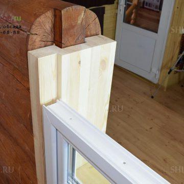 Разрез проема окна - обсада с пластиковым окном. Образец в офисе в Шувое.